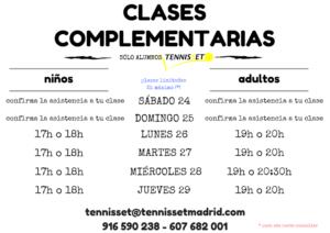CLASES COMPLEMENTARIAS VERANO 2017