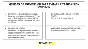 Protocolo Covid-19 Tennisset